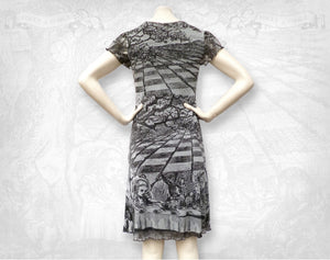 Alice in Wonderland 'Mad tea party' Mesh dress Light Grey