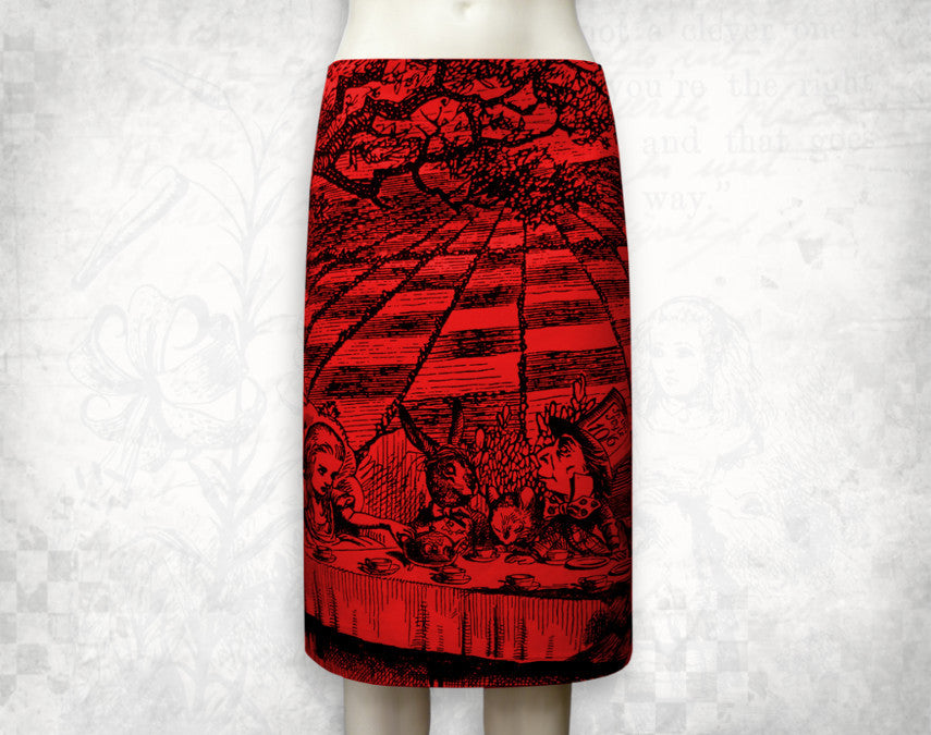 Alice in Wonderland 'Mad tea party' Skirt Red- 3/4 length