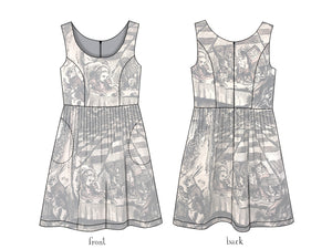 Alice in Wonderland Mad Tea Party Tea-stained cotton dress