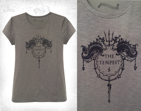 Shakespeare ~The Tempest Cotton T-shirt ~ grey/olive