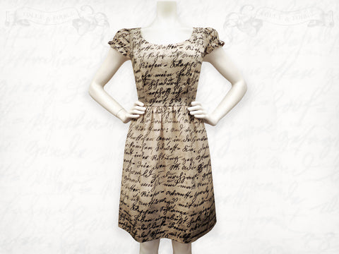 Writing dress- Tea stained cotton- Puff sleeve