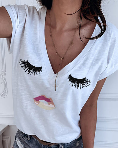 Eyes Print V-neck Casual T-shirt