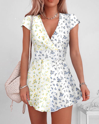 V-neck Colorblcok Floral Print Dress