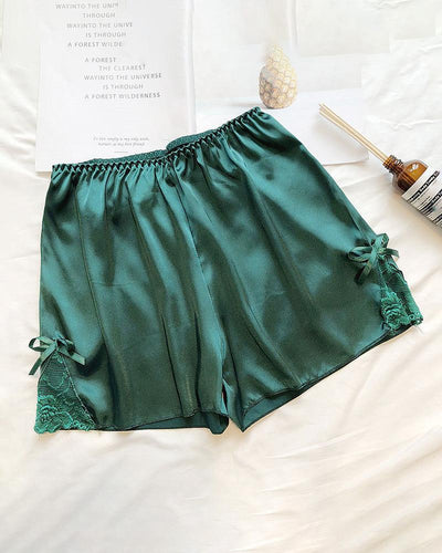 Lace Trim Satin Shorts