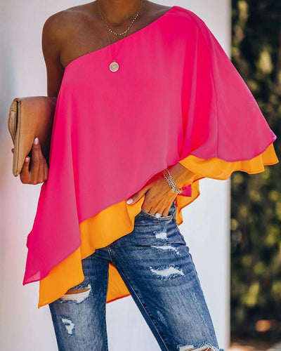 One shoulder Colour Contrast Ruffles Scallop Trim Irregular Top