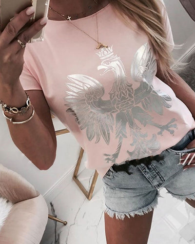 Print Round Neck Casual T-shirt