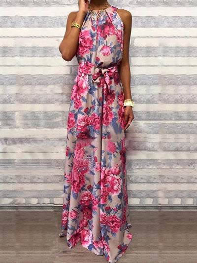 Floral Print Sleeveless Belted Maxi Dress