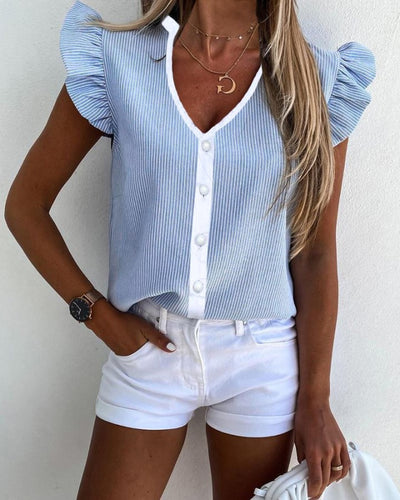 Striped Ruffles V-neck Casual Top