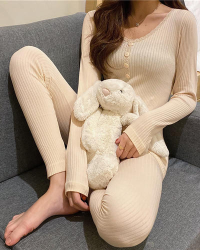 Lace Trim Solid Long Sleeve Pajamas Set