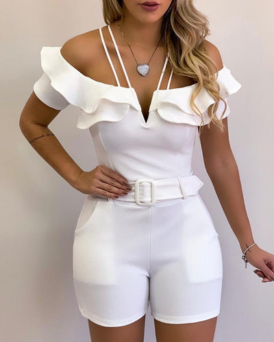 Cold Shoulder Ruffles Romper