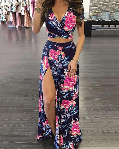 Stylish High Slit Floral Print Maxi Dress Set