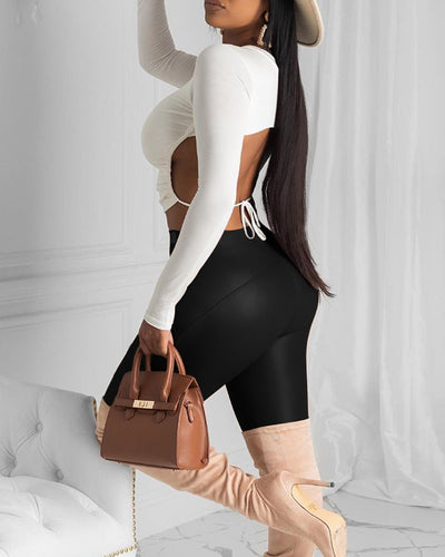 Faux Leather Solid High Waist Pants