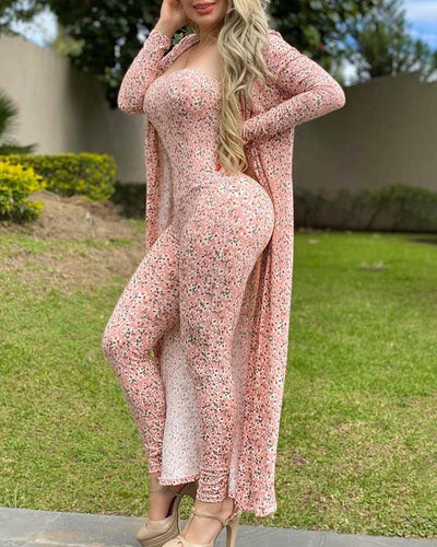 Floral Print Long Sleeve Casual Jumpsuit & Cover Up Set
