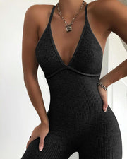 Solid Ribbed Open Back Sleeveless Jumpsuit