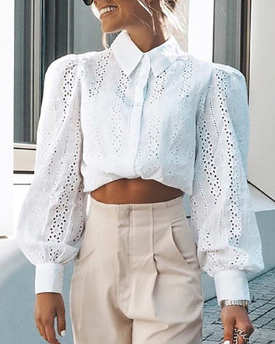 Eyelet Embroidery Puff Sleeve Casual Shirt