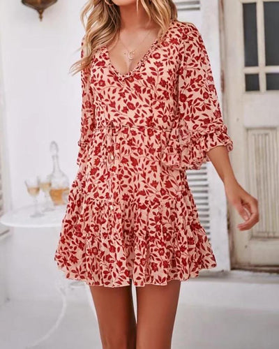 Lace-Up Back Floral Print Dress