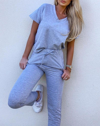Short Sleeve Two-Piece Lounge Set