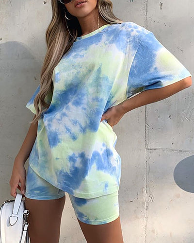 Tie Dye Print Short Sleeve Casual Top & Shorts Set