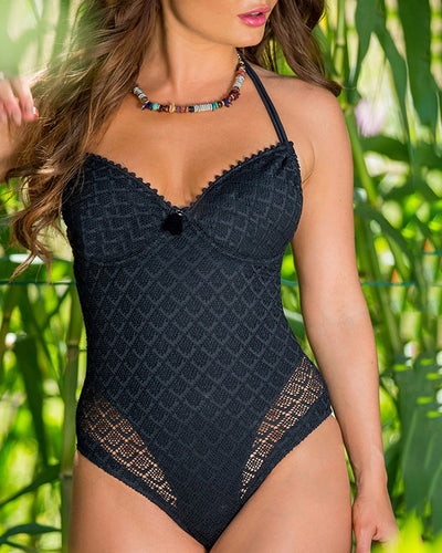 Lace Hollow Out Halter Padded One Piece Swimsuit