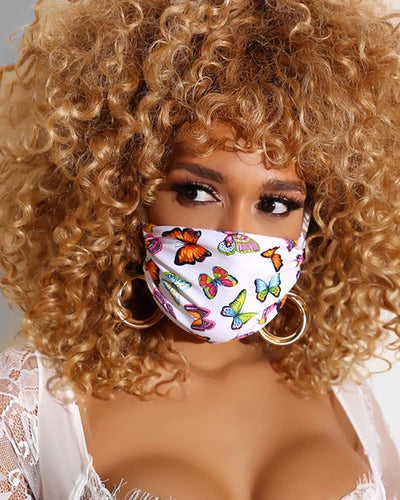 Butterfly Print Breathable Mouth M .a. s. k Washable And Reusable