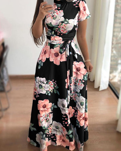 Floral Print Short Sleeve Tie Waist Maxi Dress