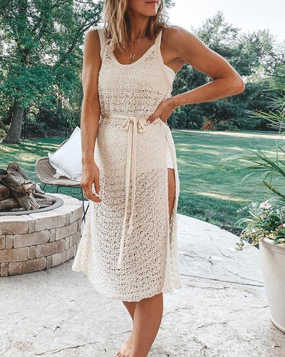 Crochet Side Slit Swim Cover-Up