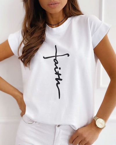Print Short Sleeve Casual T-shirt