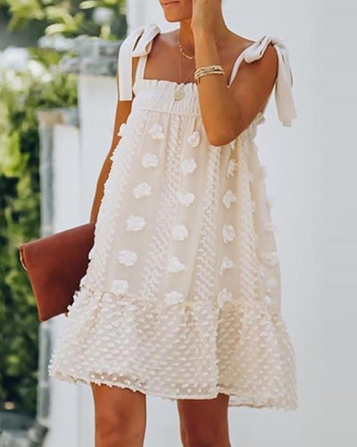 Swiss Dot Frill Hem Ruched Tied Strap Dress