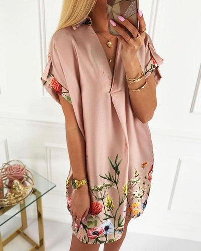 Floral Print Short Sleeve Satin Dress