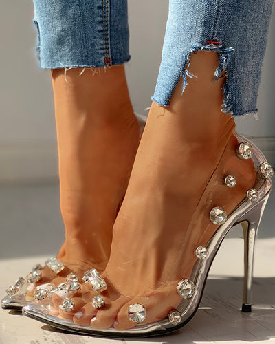Transparent Studded Thin Heels