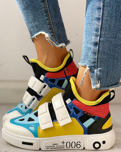 Colorblock Knitted Breathable Sneakers