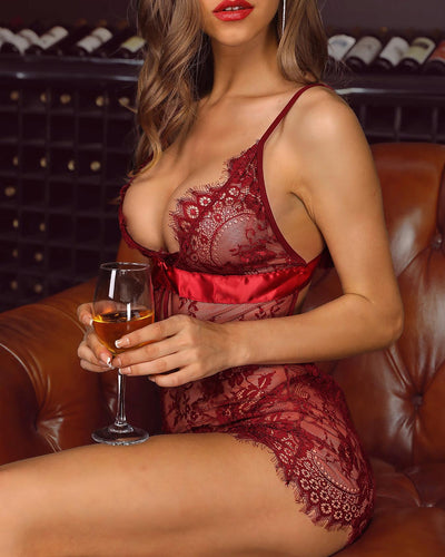 Spaghetti Strap Eyelash Lace Babydoll Dress