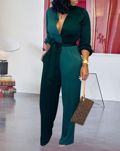 Colorblock Insert Buttoned Lantern Sleeve Jumpsuit
