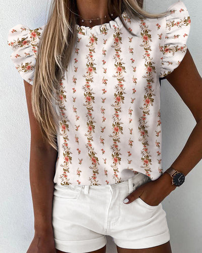 Floral Print Ruffles Sleeve Casual Top