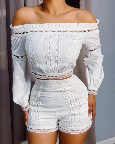 Off Shoulder White Tops And Shorts