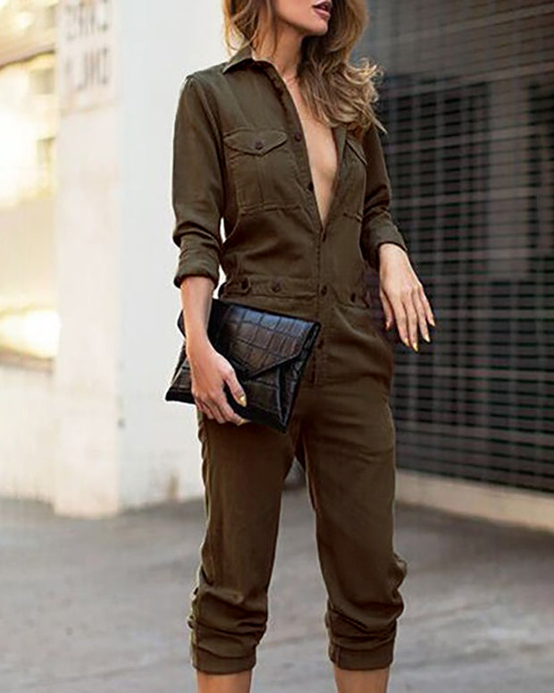 Solid Long Sleeve Cargo Jumpsuit