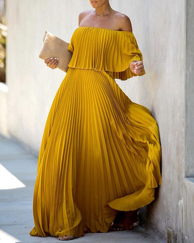 Off Shoulder Pleating Maxi Dress