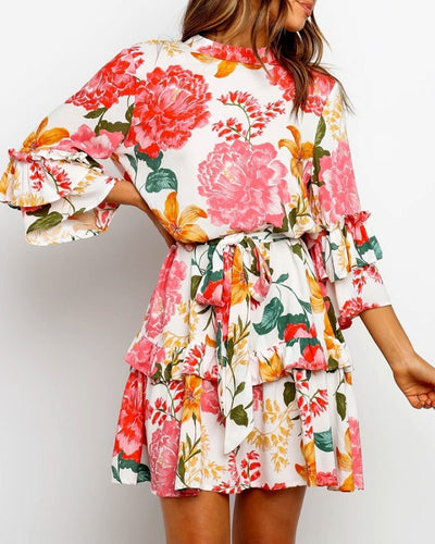 Floral Print Ruffles Casual Dress