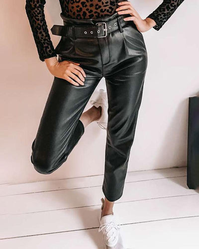 Faux Leather Casual Pants