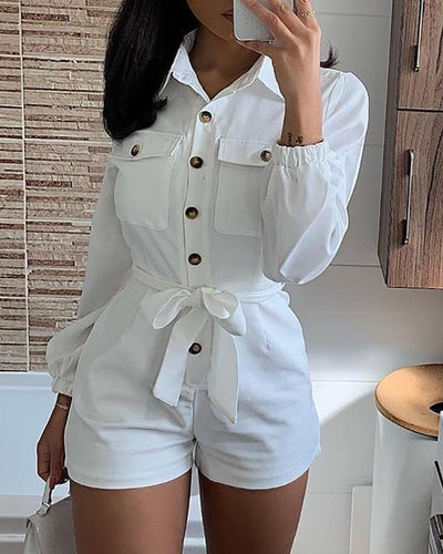 Solid Buttoned Pocket Design Knotted Cargo Romper
