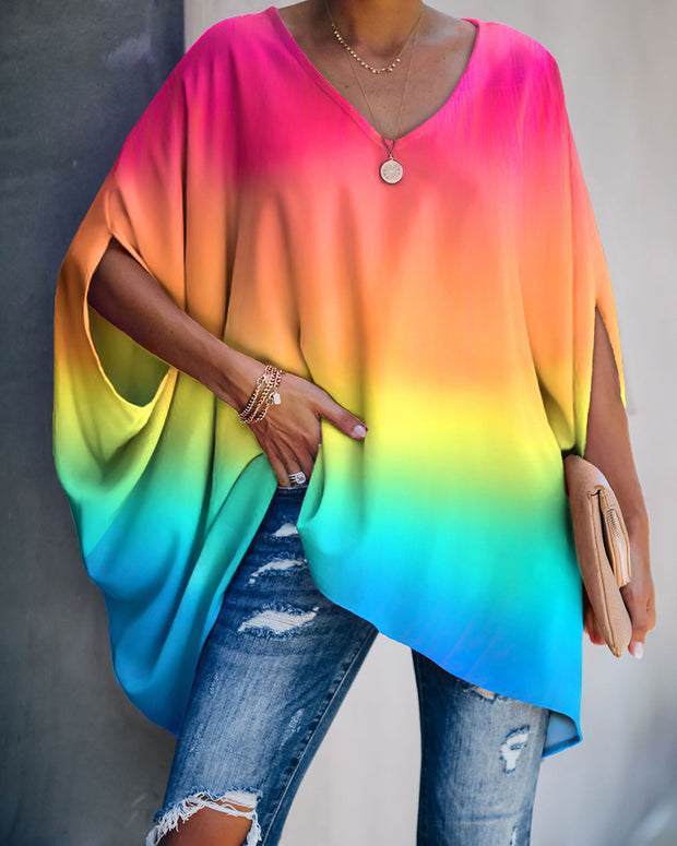 Gradient Color Tie Dye Print Batwing Sleeve Casual Top