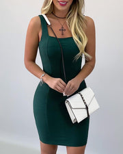 Solid Thick Strap Square Neck Dress