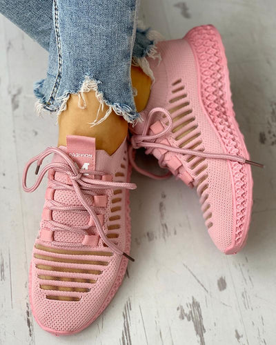 Net Surface Breathable Lace-Up Hollow Out Sneakers