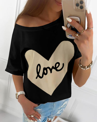 Heart Letter Print Casual T-shirt
