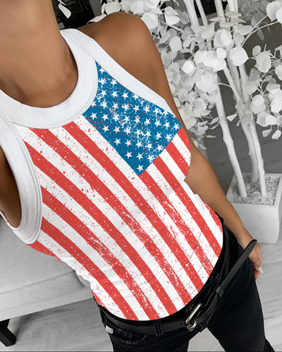 Flag Print Contrast Binding Casual Tank Top