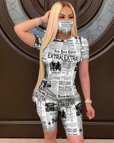 Newspaper Print Short Sleeve Top With Face Bandana & Shorts Set