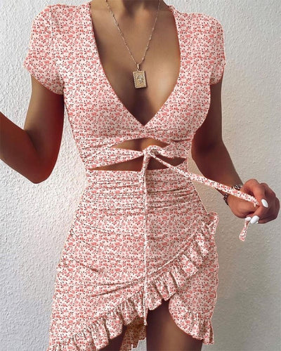 Floral Print Cutout Ruffles Ruched Dress