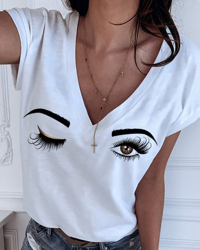 Eyes Print V-neck Short Sleeve T-shirt
