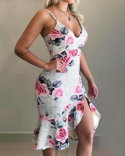 V-neck Floral Print Ruffles Slit Dress