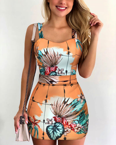 Thin Strap Floral Print Casual Dress